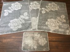 ROMANY GYPSY WASHABLE ROSE FULL SET OF 4 MATS X LARGE 100X140CM SILVER/GREY